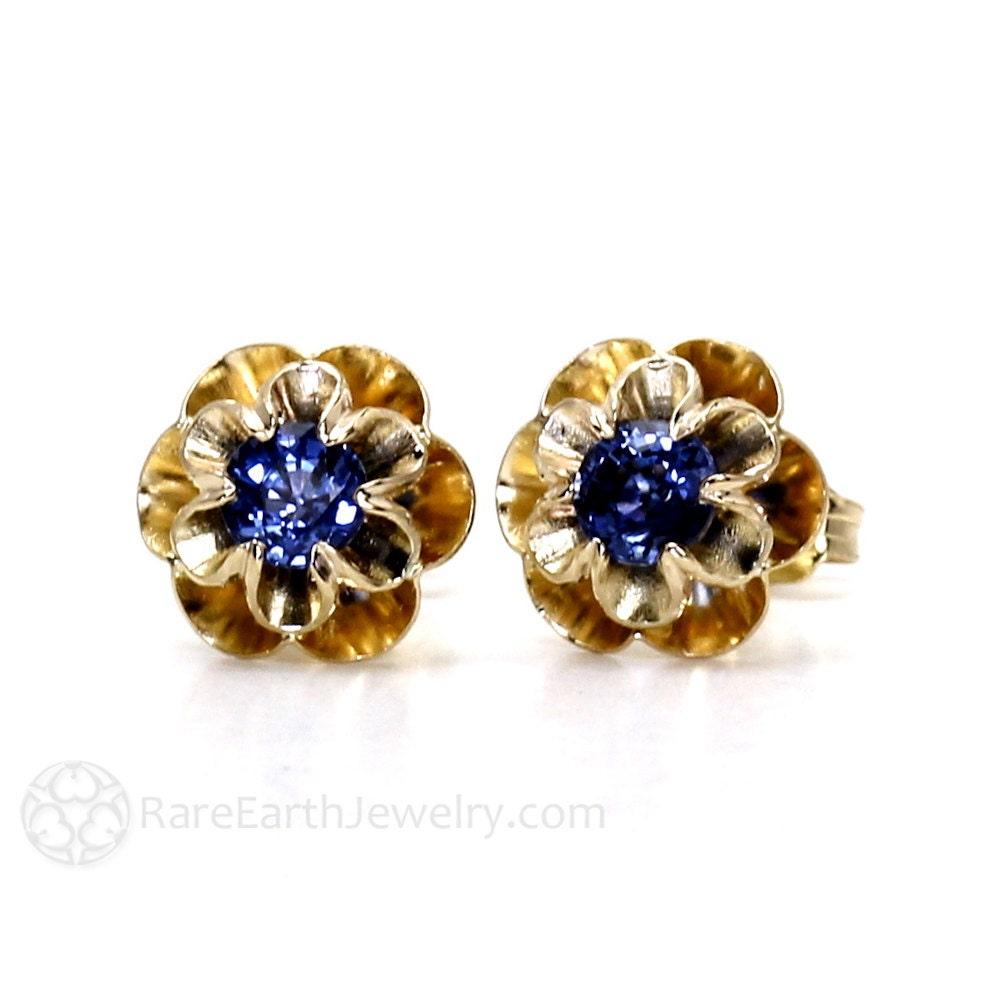 blue sapphire earrings 14k sapphire stud earrings floral. Black Bedroom Furniture Sets. Home Design Ideas