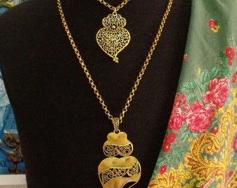 Portugal Viana hearts folk necklace gold filigree