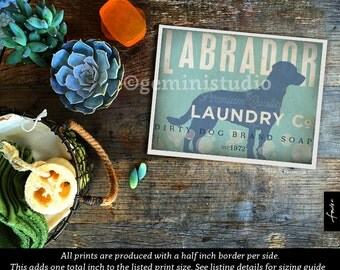 Labrador dog laundry company laundry room artwork giclee archival signed artists print by Stephen Fowler Pick A Size