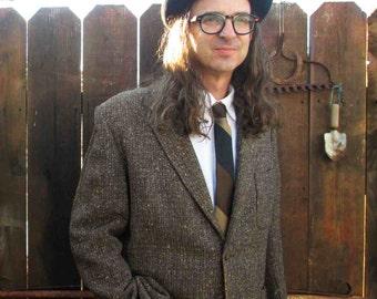 50s Fleck Tweed Vintage Jacket wool Brown fleck black and tan tweed 50s vintage jacket 1950s coat M 40
