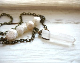 White Pearl Quartz Crystal Point Necklace, Stone Pearl Chain Statement Strand Necklace, Handmade Artisan Birthstone Jewelry