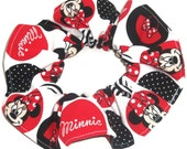 Disney Minnie Mouse Fabric Hair Scrunchie Scrunchies by Sherry PInk Red Black Ponytail Holders Ties