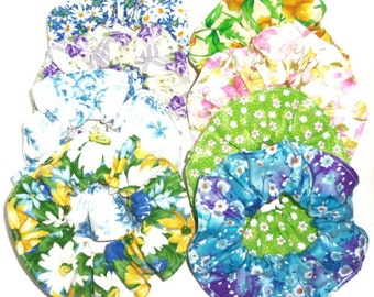 8 Floral Flower Hair Scrunchie Fabric Ties Ponytail Holders Scrunchies by Sherry Pink Blue Purple Green Yellow Roses Daisies