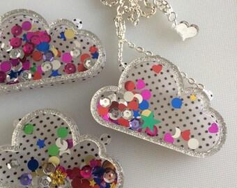 Dream Confetti Cloud laser cut necklace