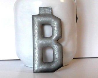 Vintage Letter B c1900 Industrial Marquee 5 Inch Unused Metal Letter