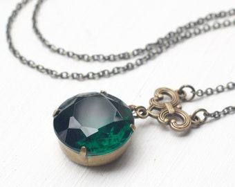 Emerald green jewel necklace antique brass bronze May birthstone vintage crystal gem