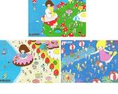 Set of Postcard  -Flying&Swimming-