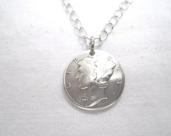 Coin necklace-Mercury dime necklace-handmade in the USA-free shipping