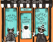 The Corner Shop on Halloween - Original Cat Folk Art Painting