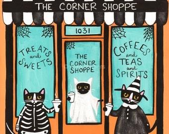 The Corner Shop on Halloween - Original Cat Folk Art Painting