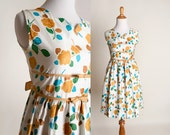 Vintage 1960s Floral Dress - Mustard Yellow Cotton Day Dress - XS