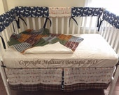 Rustic Deer Nature Navy Arrows with Plaid Designer Baby Nursery Crib Bedding Set with Custom MADE To ORDER