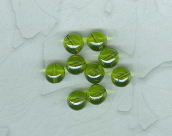 Vintage German Olive Luster Glass Bubble Beads 10 mm