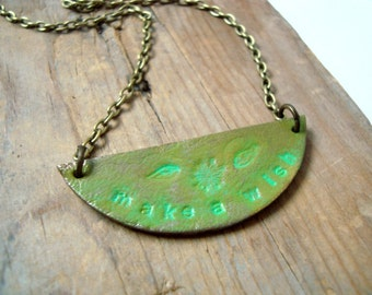 Leather Pendant Necklace - Make a Wish. Leather Jewelry Spring Green Dandelion Summer Beachy Woodland Jewelry Gifts For Her Hand Stamped