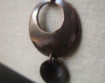 Copper Pendant Hammered Copper Circle Pendant Oxidized Copper Drop Item No. 0081