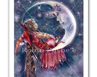 Little Witch , Man-in-the-Moon, 11x14 Print from original