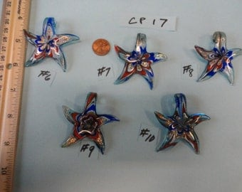 Choose your Color of Murano Style Solid Glass Starfish Center Piece  for Necklace  CP 17