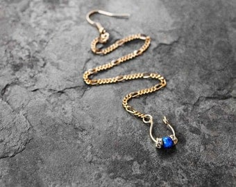Nose Chain, Nose Jewelry, Gold Filled Septum Nose Chain, Nose Ring, Septum Nose Chain, Tribal Nose Ring, The Blues Gold Septum Nose Chain