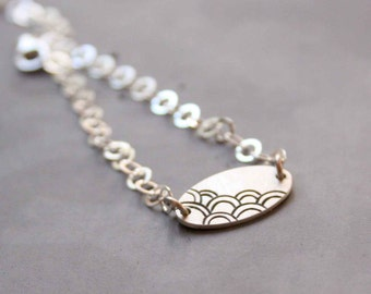 Sterling Silver Bracelet with Japanese Wave Pattern, Adjustable, Silver Chain - The Sea - Small shape