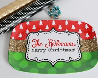Christmas Platter, Glory to God in the highest platter, gold glitter platter, Christmas tree platter, Polka Dot platter, Serving Platter