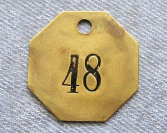 Brass Number Tag Room 48 Antique Key Fob Octagon Painted Motel ID Diy Repurpose Jewelry Hardware