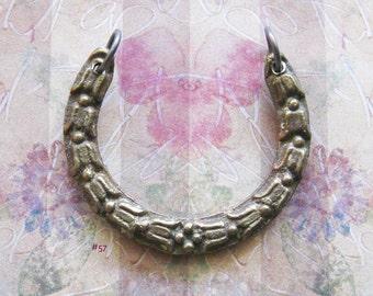 Tribal Tulip Amulet Escutcheon Choker Pendant Antique Brass Jewelry Hardware