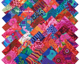 "SQ07 Kaffe Fassett Collective BOLD BRIGHT Precut 5"" Fabric Quilting Cotton Squares Westminster Fibers"