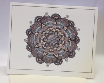 Hand Drawn Southwestern Mandala Greeting Cards - Note Cards - Blank - Choose Quantity - Coose Style - With Envelopes