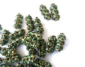 SWAROVSKI  beads, antique vintage 2 beads  green crystals in metal setting 15mmx7mm