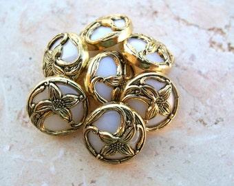 6 Vintage flowers buttons gold color flower Art Nouveau  style on white plastic 18mm