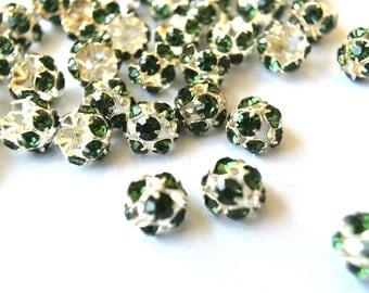 6 Vintage Swarovski beads green crystals rhinestone mounted on  silver color metal mushroom shape, half ball shape, cap shape