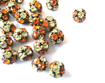 2 Vintage Swarovski crystal ball beads, 8mm, rhinestones orange and clear crystals mounted in brass setting- RARE