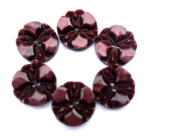 6 Buttons, vintage buttons, flower buttons, plastic buttons 18mm, unique color