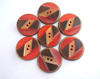 6 Buttons antique vintage type of plastic unique 27mm, orange