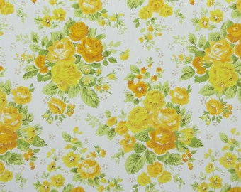 1960s Vintage Wallpaper by the Yard - Retro Floral Wallpaper Yellow and Orange Roses