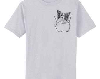 Papillon in Pocket Dog Art T-Shirt Youth and Adult Sizes