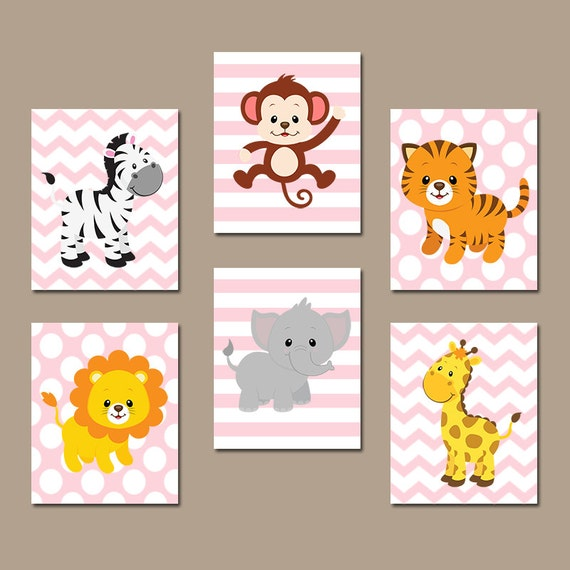 Safari Nursery Decor Jungle Theme Nursery Nursery Artwork: GIRL Jungle Wall Art CANVAS Or Prints Safari Theme Zoo