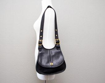 Vintage Coach NYC Black Leather Messenger Crossbody Crescent Berkeley Saddle Shoulder Purse Cashin 9988 0721161