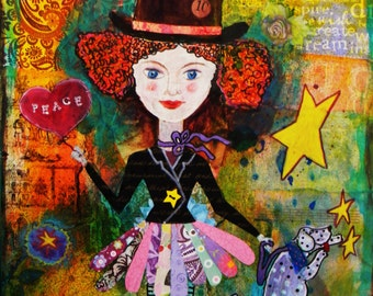 Star Girl original mixed media art painting with girl, dog, stars