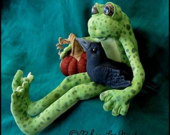Soft Sculpture Frog, Pumpkin and Crow FFFOFG