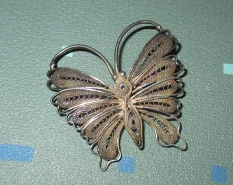 Vintage FAB Filigree Butterfly Pin