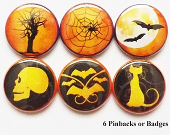 Halloween PINS PINBACK BUTTONS badges party favors skull bats moon spider web cat geekery trick treat spooky stocking stuffers gifts magnet