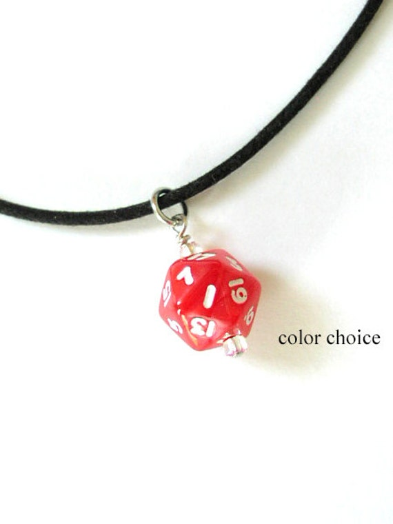 Mini D20 Dice NECKLACE Guys Unisex COLOR CHOICE Gamer gifts Geekery polyhedral rpg stocking stuffers party favors dnd mens jewelry bachelor