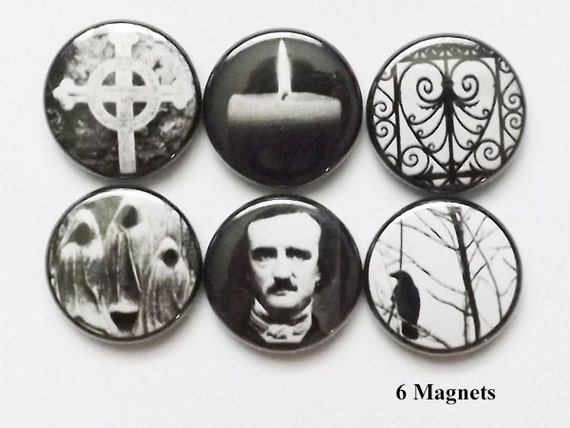 MAGNET Poe Raven halloween party favor macabre goth cemetery crow stocking stuffer refrigerator spooky trick or treat bags horror gift pin