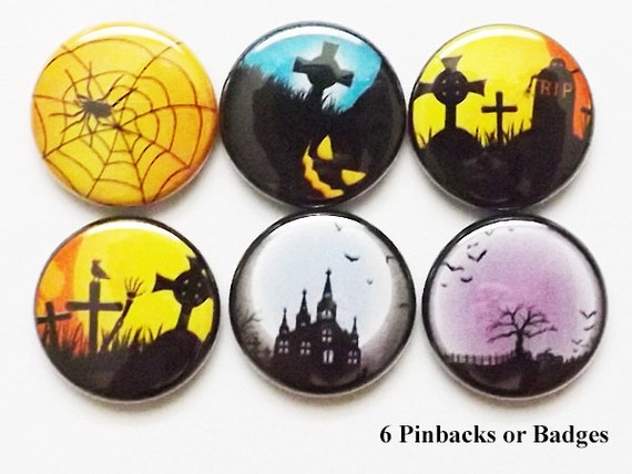 Halloween PINS Buttons PINBACKS haunted house cemetery grave spider web moon geekery party favors stocking stuffers magnets trick treat gift