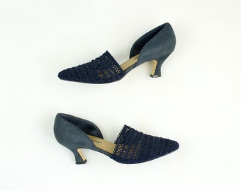 90s Vintage Navy Blue Lattice And Suede Dorsay Pumps / Size US 8