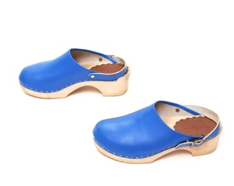 size 5 CLOGS blue leather 70s 80s WOODEN slip on SWEDISH bohemian mules