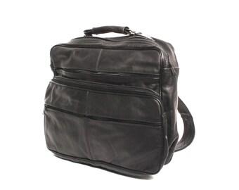 GRUNGE black leather 80s 90s BACKPACK unisex rectangular RUCKSACK knapsack
