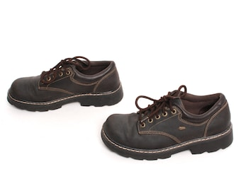 size 8.5 SKECHERS dark brown leather 80s 90s CHUNKY platform GRUNGE hiking lace up ankle boots