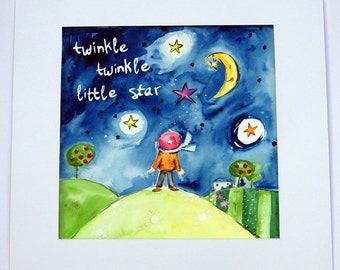 Twinkle Twinkle Little Star Painting / Original Watercolor Art / Watercolour Children's Art / Nursery Decor